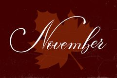 Het vectorlevensstijl van letters voorzien hello November Royalty-vrije Stock Afbeelding
