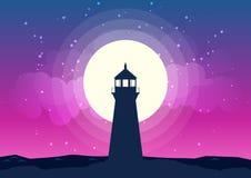 Het Vectormaanlicht van het vuurtorensilhouet Royalty-vrije Stock Fotografie