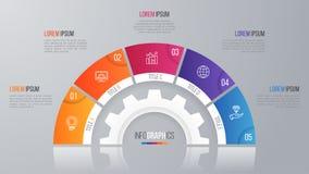 Het vectormalplaatje van de cirkelgrafiek voor infographics met 5 opties Royalty-vrije Stock Afbeeldingen