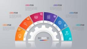 Het vectormalplaatje van de cirkelgrafiek voor infographics 6 opties Royalty-vrije Stock Foto's