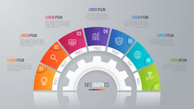 Het vectormalplaatje van de cirkelgrafiek voor infographics 7 opties Royalty-vrije Stock Afbeeldingen