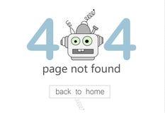 het vectormalplaatje van de 404 foutenpagina voor website Illustratie van een beeldverhaalrobot royalty-vrije illustratie