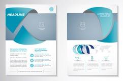 Het vectormalplaatje van de het ontwerplay-out van de Brochurevlieger, grootte A4, Voorpagina en achterpagina, infographics Gemak Royalty-vrije Stock Foto
