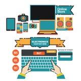 Het vectormalplaatje van de illustratiebanner voor elektronikaopslag en online winkel Royalty-vrije Stock Afbeelding