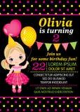 Het vectormalplaatje van de Verjaardagskaart met Leuk Meisje vector illustratie