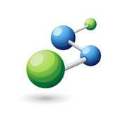 Het vectormalplaatje van het embleemontwerp Abstract moleculair structuursymbool Stock Afbeelding