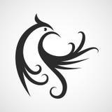 Het vectormalplaatje van het embleemontwerp De abstracte achtergrond van het vogelsilhouet Stock Fotografie