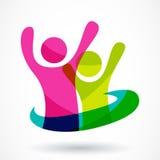 Het vectormalplaatje van het embleemontwerp Kleurrijke abstracte gelukkige mensenillu Stock Foto
