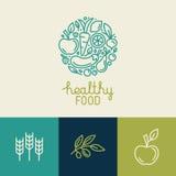 Het vectormalplaatje van het embleemontwerp met fruit en plantaardige pictogrammen Stock Afbeeldingen