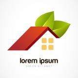 Het vectormalplaatje van het embleemontwerp Rood huisdak met groene bladeren D Stock Foto's