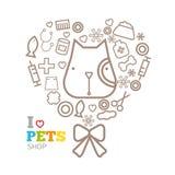 Het vectormalplaatje van het embleemontwerp voor geplaatste dierenwinkels Royalty-vrije Stock Afbeelding