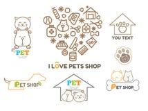 Het vectormalplaatje van het embleemontwerp voor geplaatste dierenwinkels Royalty-vrije Stock Fotografie