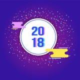 Het vectormalplaatje van het 2018 Nieuwjaarontwerp Stock Fotografie