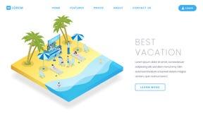 Het vectormalplaatje van het toeristische sectorlandingspagina Van de de websitehomepage van de reisadministratieve dienst de int royalty-vrije illustratie