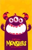 Het vectormonster van Halloween met drie ogen grote tanden en geopende mond wijd geïsoleerd royalty-vrije illustratie