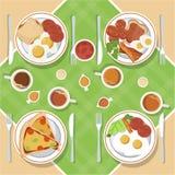 Het vectorontbijtconcept plaatste met voedsel en dranken met vlakke pictogrammen in samenstelling De sandwich en de omelet van de royalty-vrije illustratie