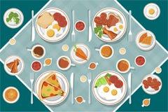 Het vectorontbijtconcept plaatste met voedsel en dranken met vlakke pictogrammen in samenstelling De sandwich en de omelet van de stock illustratie
