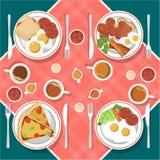 Het vectorontbijtconcept plaatste met voedsel en dranken met vlakke pictogrammen in samenstelling De sandwich en de omelet van de vector illustratie