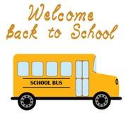 Het vectoronthaal van de Schoolbus terug naar School Stock Afbeeldingen