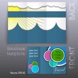 Het vectorontwerp trifold van het bedrijfsbrochuremalplaatje Stock Foto's