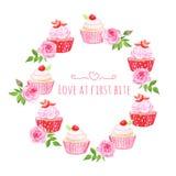 Het vectorontwerp van de Cupcakeslijst om kader Stock Afbeeldingen