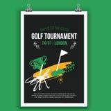 Het vectorontwerp van de Golfaffiche met hand getrokken elementen Malplaatje voor sportvlieger, de concurrentie stock illustratie