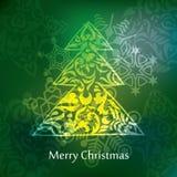 Het vectorontwerp van de Kerstmisprentbriefkaar Stock Foto's