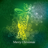 Het vectorontwerp van de Kerstmisprentbriefkaar Stock Afbeeldingen