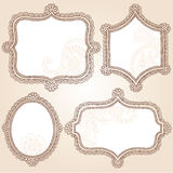 Het VectorOntwerp van de Krabbel van de Frames van de Bloem van de Tatoegering van de henna Stock Foto's