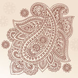 Het VectorOntwerp van de Krabbel van Paisley van de Bloem van de Tatoegering van de henna Royalty-vrije Stock Fotografie