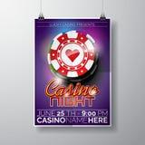Het vectorontwerp van de Partijvlieger op een Casinothema met spaanders en typographyc tekst op violette achtergrond vector illustratie