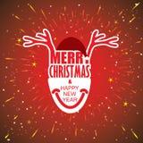 Het vectorontwerp van de vakantiekaart met het gezicht van Santa Claus en van het rendier Stock Foto