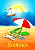 Het Vectorontwerp van het de zomerstrand op het strand met een paraplu en een sluier op het strand De zomer achtergrondillustrati vector illustratie