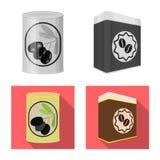 Het vectorontwerp van kunnen en het voedselembleem De reeks van kan en vectorpictogram voor voorraad verpakken stock illustratie