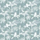 Het vectorontwerp van Palmencalifornië Grey Texture Seamless Pattern Surface met Exotische, Decoratieve, Hand Getrokken Palmen Stock Afbeeldingen