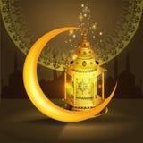 Het vectorontwerp van Ramadan kareem vectorgroeten met lantaarn of fanoos bespot omhoog met gouden achtergrond royalty-vrije illustratie