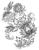Het vectorornament van de illustratie zwart-witte bloem royalty-vrije stock afbeeldingen