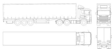 Het vectoroverzicht van de vrachtwagenaanhangwagen Bedrijfsvoertuig Lading die voertuig leveren Mening van kant, voorzijde, rug,  royalty-vrije illustratie