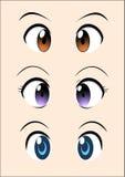 Het vectorpak van het Animeoog Royalty-vrije Stock Afbeeldingen