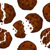 Het vectorpatroon van chocoladeschilferkoekjes Het naadloze patroon van het chocoladekoekje vector illustratie