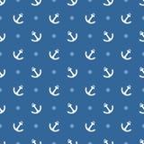 Het vectorpatroon van de tegelzeeman met wit anker en stippen op marineblauwe achtergrond stock illustratie