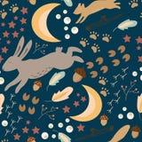 Het vectorpatroon van Forest Seamles van de de lentenacht Royalty-vrije Stock Foto