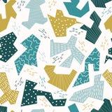 Het Vectorpatroon van Memphis Style Geometric Abstract Seamless, Hand Getrokken Papercut stock illustratie