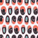 Het Vectorpatroon van Memphis Style Oval Abstract Seamless royalty-vrije illustratie