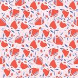 Het Vectorpatroon van Rose Hip Floral Leaves Seamless stock illustratie