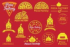 Het het Vectorpictogram en Embleem van de pizzafabriek Stock Foto's