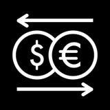 Het vectorpictogram van de muntuitwisseling Zwart-witte geldillustratie Overzichts lineaire dollar en euro pictogram Royalty-vrije Stock Fotografie