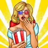 Het vectorpop-art wekte blonde vrouwenzitting in het auditorium en het letten van een op 3D film op Stock Foto's