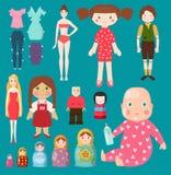 Het vectorpoppenstuk speelgoed van karaktermeisjes en jongens menselijke gezicht en het lichaamsspel kleden vod-pop illustratie M Stock Fotografie