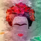 Het vectorportret van Frida Kahlo, hand die op de muur trekken Royalty-vrije Stock Afbeeldingen